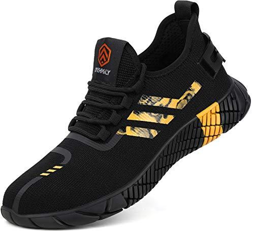 Kefuwu Zapatillas de Trabajo Hombre Calzado de Seguridad Ligero Comodos con Punta de Acero Anti-pinchazo Verano Zapatos de Trabajo (Negro Amarillo, 43 EU)
