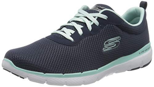 Skechers Flex Appeal 3.0-First Insight, Zapatillas Mujer, Azul (Nvaq Black Mesh/Trim), 37 EU