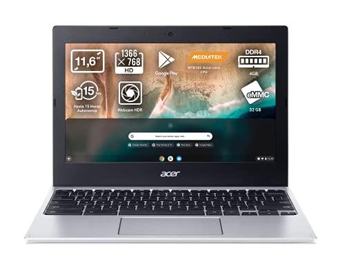 Acer Chromebook 311 CB311-11H - Ordenador Portátil 11' HD, Laptop (MTK MT8183, 4GB RAM, 32GB eMMc, UMA Graphics, Chrome OS), PC Portátil Color Plata - Teclado Qwerty Español