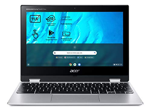 Acer Chromebook Spin 311 CP311-3H - Ordenador Portátil 2 en 1 Convertible y Táctil 11.6' HD IPS (MTK MT8183, 4GB RAM, 32GB eMMc, Mali-G72 MP3 Graphics, Chrome OS), PC Portátil Plata - QWERTY