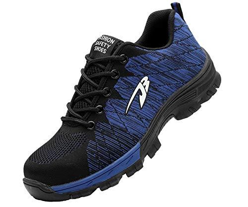 Zapatillas de Seguridad Hombre Zapatos de Mujer Antideslizante Transpirable Zapatos de Trabajo Calzado de Trabajo Ultra Liviano Suave y Cómodo Deportes Unisex, A Azul, 46 EU