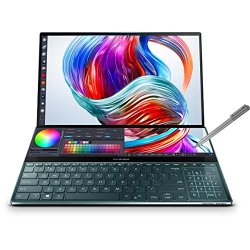ASUS ZenBook Pro Duo UX581LV-H2013R - Portátil de 15.6' UHD con ScreenPad Plus de 14' (i7-10750H, 32 GB RAM, 1TB SSD, RTX2060 6 GB GDDR6, Windows 10 Pro) Azul Celeste