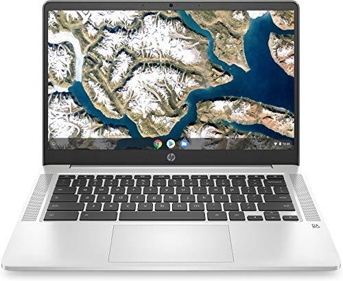 HP Chromebook 14a-na0005ns - Ordenador portátil de 14' FullHD (Celeron N4020, 8GB de RAM, 128GB Emmc, Gráficos Intel UHD, sistema operativo Chrome OS ) Plata - teclado QWERTY Español