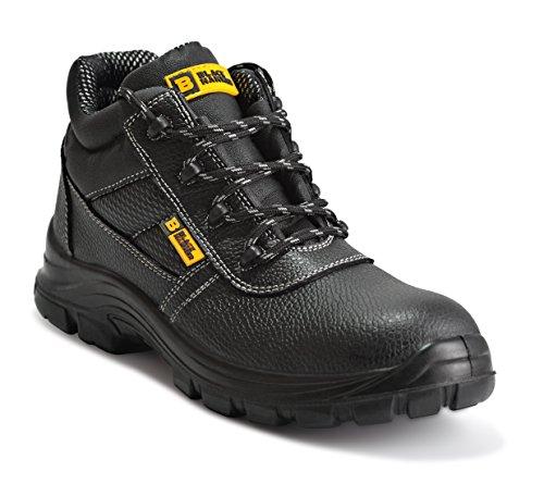 Botas de Seguridad de Cuero para Hombres Puntera de Acero Protección de Entresuela Resistente al Agua Impermeable S3 SRC Calzado de Trabajo al Tobillo de Cuero 1007 Black Hammer (43 EU)