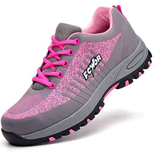 SROTER Unisex Zapatillas de Seguridad con Puntera de Acero Hombre Mujer Zapatos de Trabajo Transpirables Antideslizante Ligeras Comodas Zapatillas de Senderismo (EU 37, 03 Rosa)