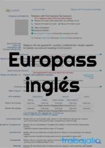 plantilla cv europass en inglés
