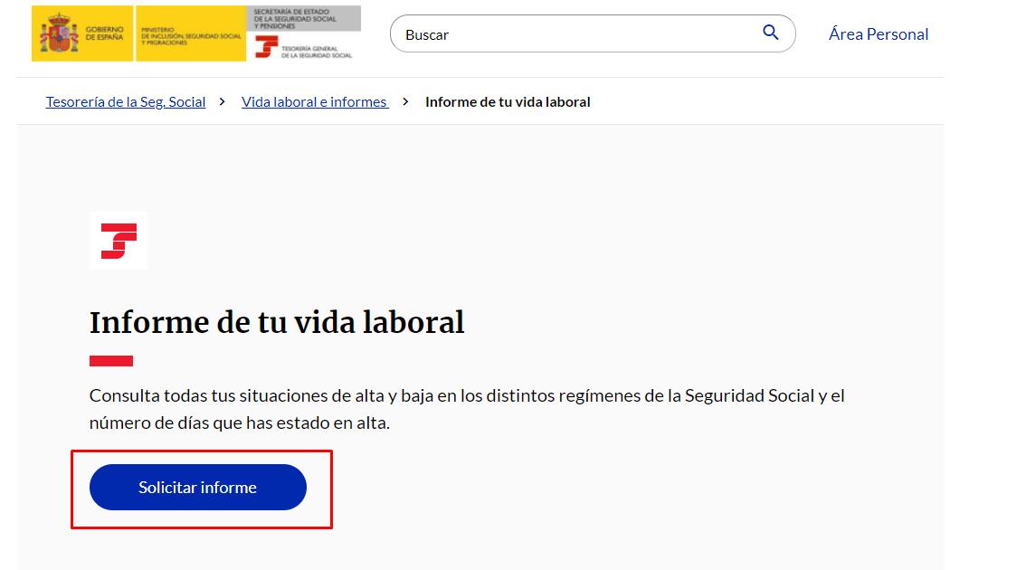 """Clica en """"Solicitar informe"""""""